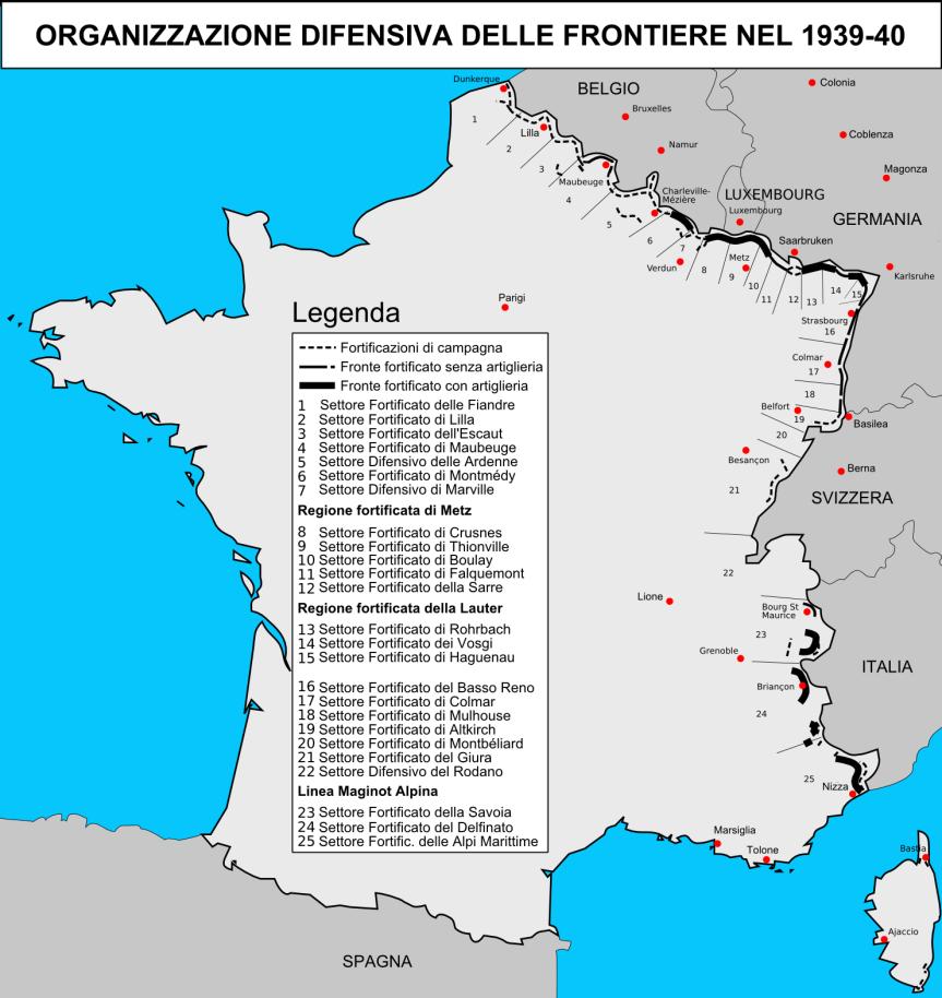 Mappa della Linea Maginot