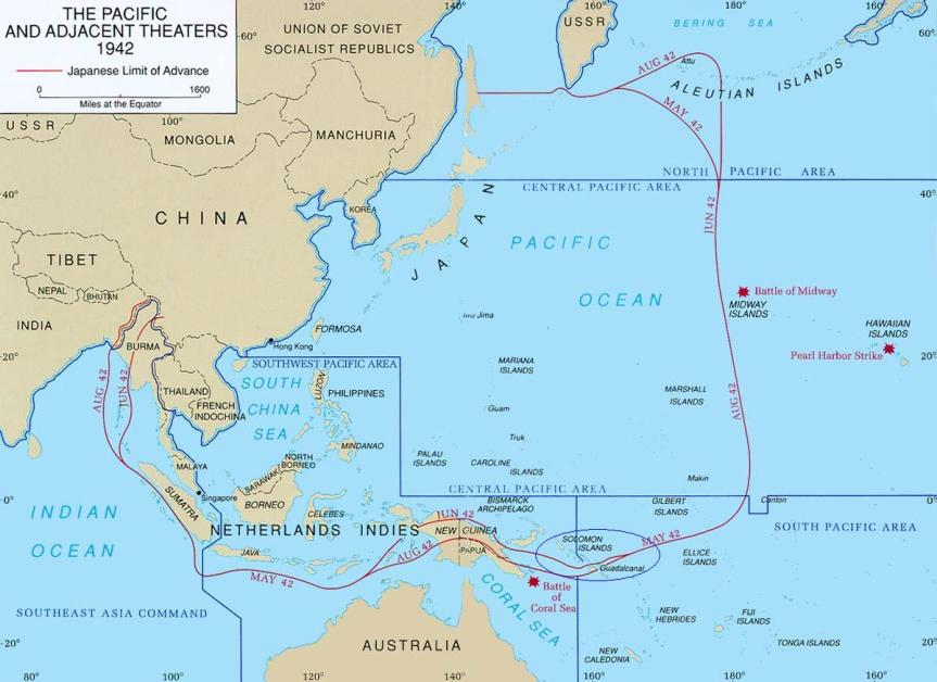 Mappa dello scenario di guerra nel Pacifico